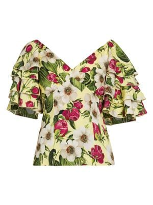 Charmeuse Floral-Print Ruffle-Sleeve Top