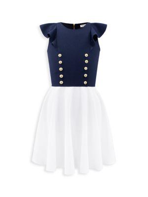 Girl's Sailor Button Dress