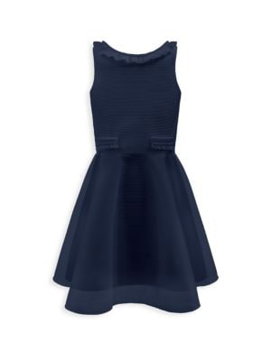 Girl's Ribbed Ruffle Dress