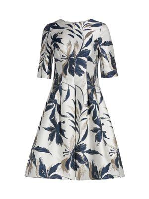 Leaf-Print Jacquard Dress