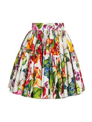 Poplin Floral-Print Mini Skirt