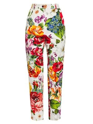 Cotton Drill Floral-Print Ankle Pants