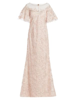 Lace Flutter-Sleeve Gown
