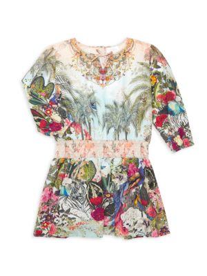 Little Girl's & Girl's Floral-Print A-Line Dress