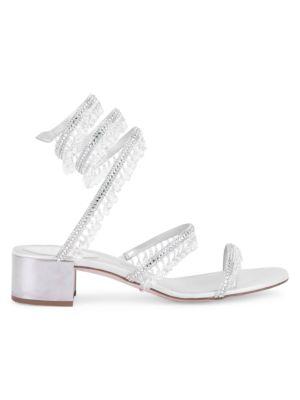 Cleo Chandelier Ankle-Wrap Crystal-Embellished Satin Sandals