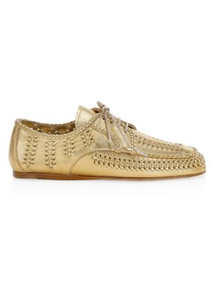 Metallic Woven Leather Derby Loafers