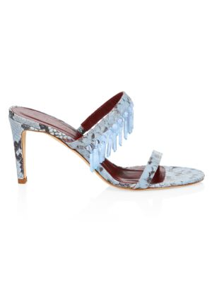 Raoule Embellished Snakeskin-Embossed Leather Mules