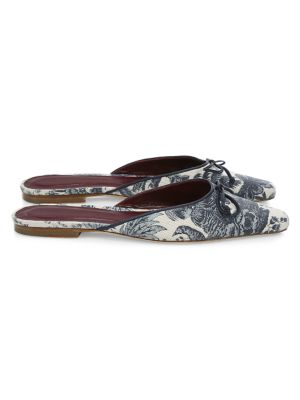 Gina Square-Toe Tropical-Print Canvas Mules
