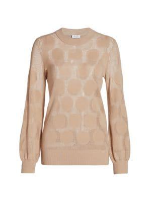 Polka Dot Intarsia Pullover Sweater