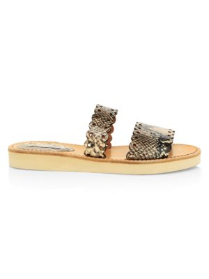 Akela Flat Python-Embossed Leather Sandals