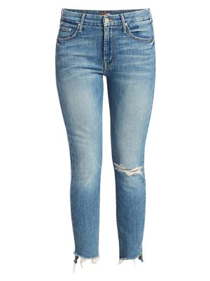 The Looker High-Rise Ankle Skinny Fray Hem Distressed Jeans