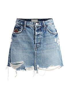 마더 진 데님 스커트 MOTHER The Vagabond Distress Mini Denim Skirt,Take Me Even Higher