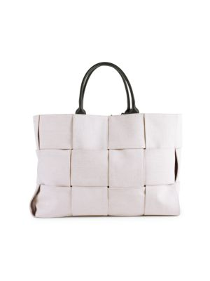 Medium Arco Leather-Trimmed Canvas Tote