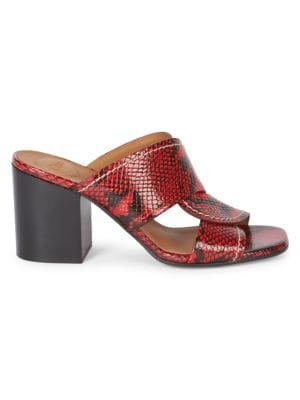 Candice Python-Embossed Leather Mules