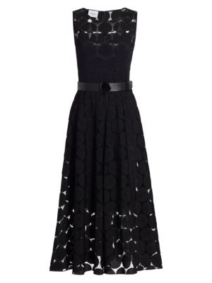 Embroidered Dot Belted Midi Dress