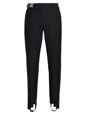 Pinstripe Stirrup Wool Suit Pants