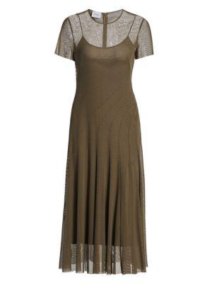 Mesh Side Slit Midi Dress