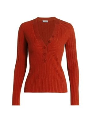Button Placket Ribbed Wool Sweater