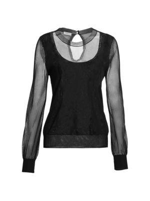 Gossamer Long Sleeve Translucent Knit Top