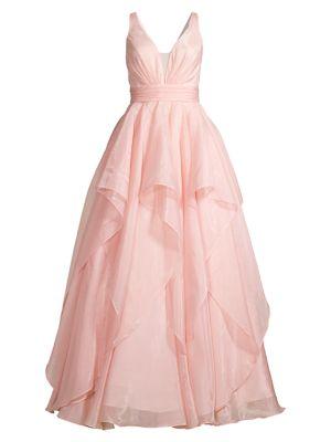 V-Neck Tiered Full-Skirt Gown