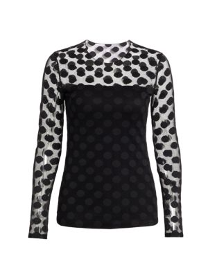 Polka Dot Sheer Panel Top