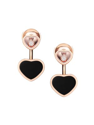 Happy Hearts 18K Rose Gold, Diamond & Onyx Earrings
