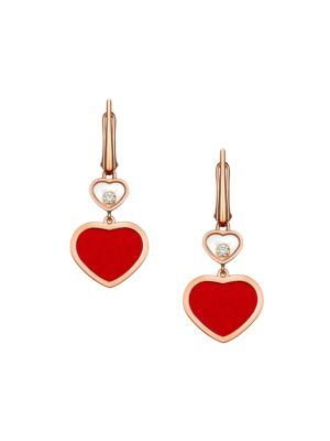 Happy Hearts 18K Rose Gold, Diamond & Red Stone Drop Earrings