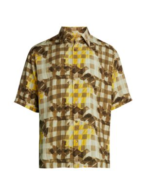 Grid Print Viscose Shirt