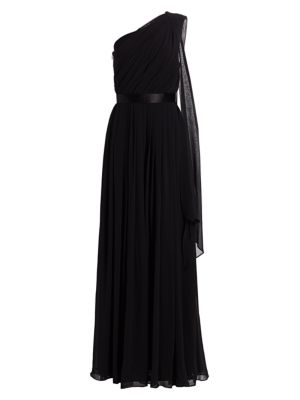 Berger One-Shoulder Silk Georgette Gown