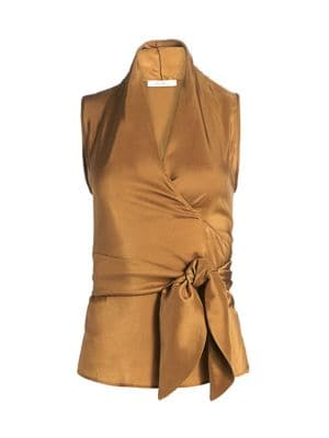 Elce Shantung Sleeveless Silk Wrap Top