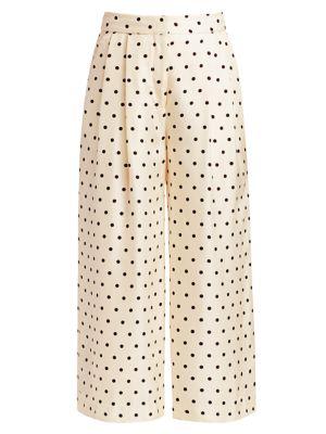 Polka Dot Pleat-Front Silk Culottes