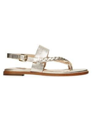 Anica Braided Metallic Leather Slingback Thong Sandals