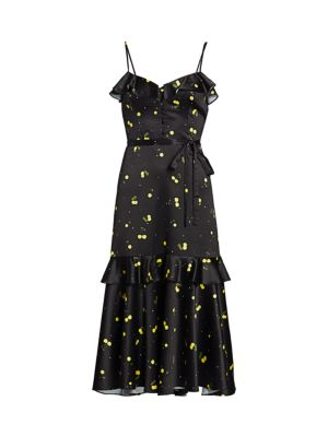 Cherry Satin Midi Dress