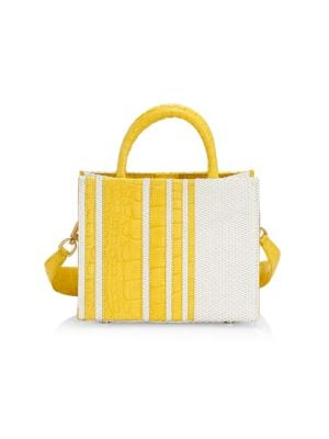Mini Emma Stripe Crocodile & Raffia Tote