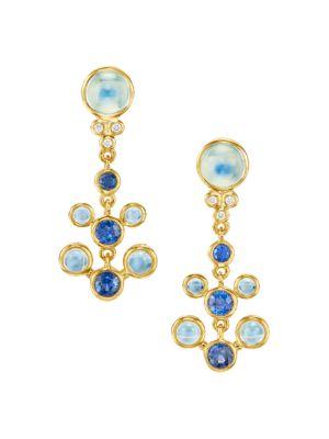 Galaxy Minor 18K Yellow Gold, Diamond, Moonstone & Sapphire Drop Earrings