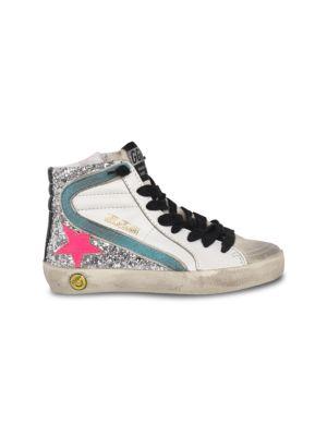 Girl's Glitter Leather Hi-Top Sneakers