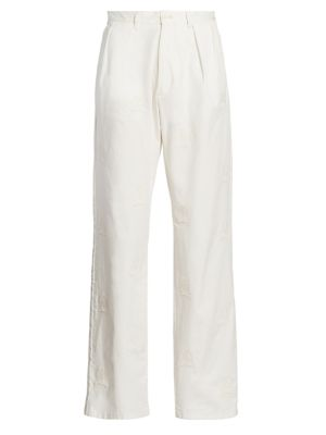 Allover Tonal Embroidered Crest Trousers