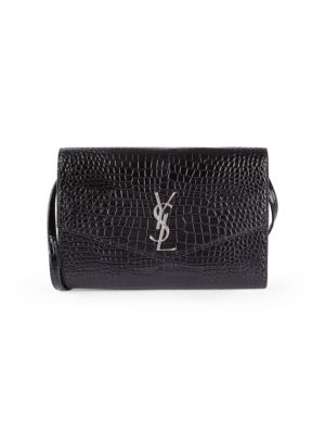 Cassandra Croc-Embossed Patent Leather Wallet-On-Strap
