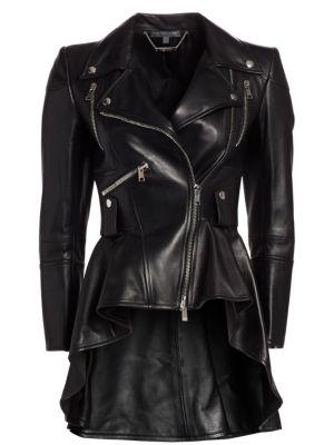 Leather Peplum Moto Jacket