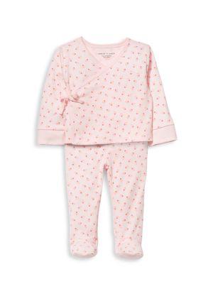 Baby Girl's 2-Piece Kimono Striped Top & Footed Pants Set