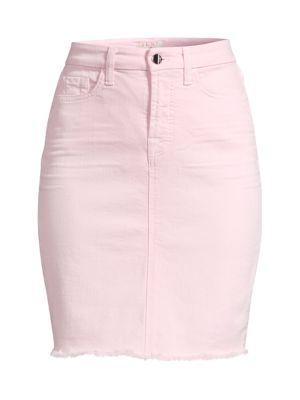 Fray Hem Denim Pencil Skirt
