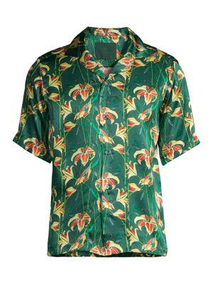 Birds & Floral Silk Short-Sleeve Shirt