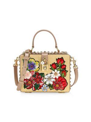 Dolce Box Floral Raffia Top Handle Bag