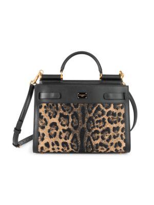 Sicily Leopard-Print Raffia Top Handle Bag