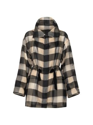 Buffalo Plaid Silk Drawstring Parka