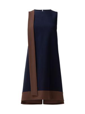 Sleeveless Bicolor Crepe Sash Dress