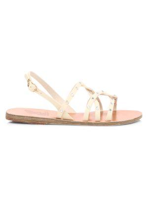 Schinousa Rivets Leather Slingback Sandals
