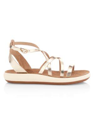 Delia Metallic Leather Flatform Sandals