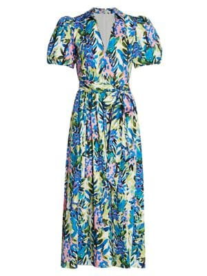 Floral Puff-Sleeve Belted Dress