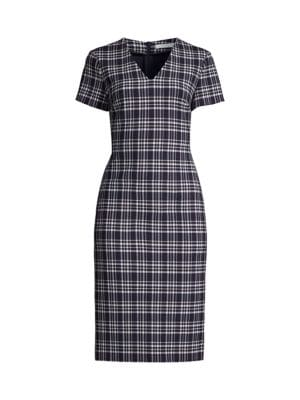 Dakara Multicolor Check Stretch V-Neck Dress